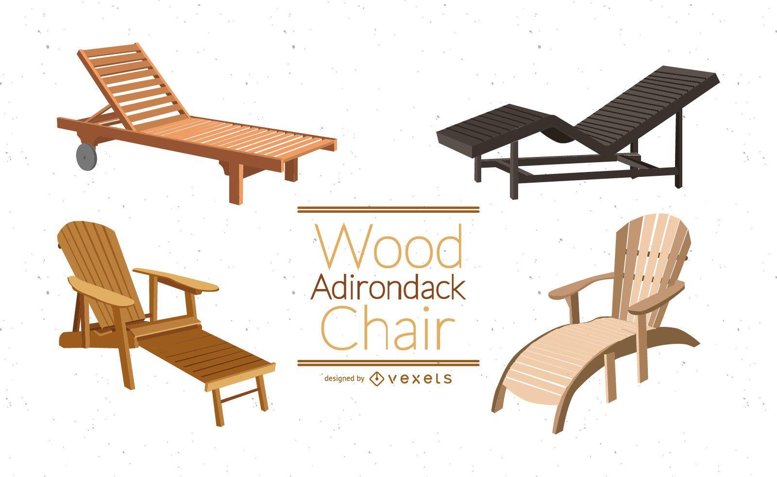 Conjunto de ilustración de silla de madera