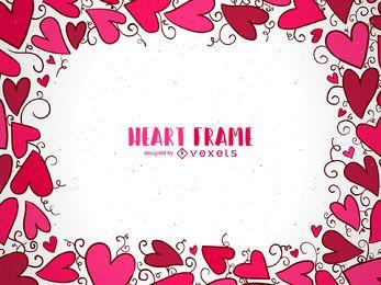 Marco desenhado mão do coração dos namorados