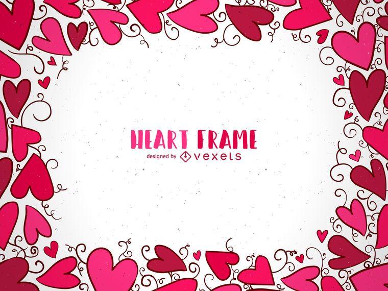 Valentines hand drawn heart frame