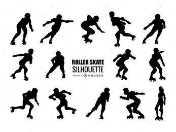Coleção de silhueta de patins em rolo