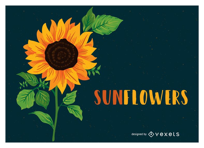 Sunflower illustration with text
