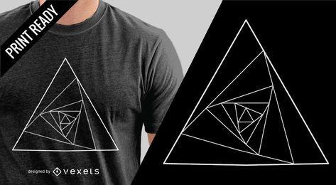 Diseño de camiseta triángulo abstracto.