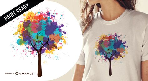 Diseño abstracto de la camiseta del árbol.