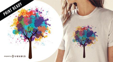 Projeto abstrato de t-shirt de árvore