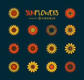 Minimalist sunflower illustration collection