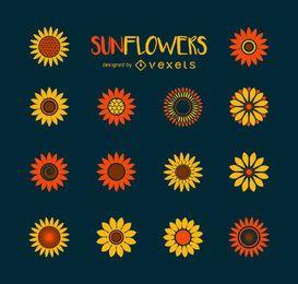 Minimalistische Sonnenblumen-Illustrationssammlung