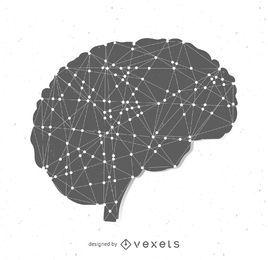 Silueta del cerebro con nodos