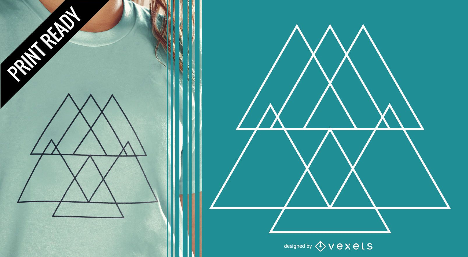 Abstract pyramid t-shit design