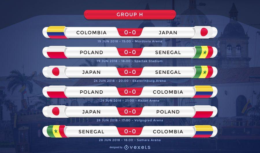 Rússia 2018 Grupo H fixture