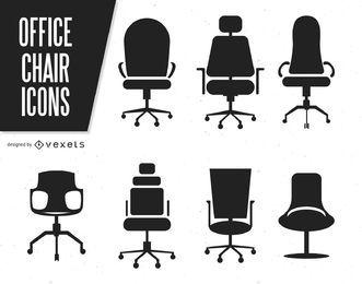 Silhuetas de cadeiras de escritório