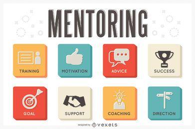 Conjunto de ícones de conceito de mentoring