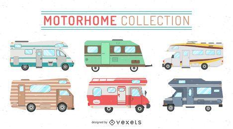 Conjunto de ilustrações de motor home