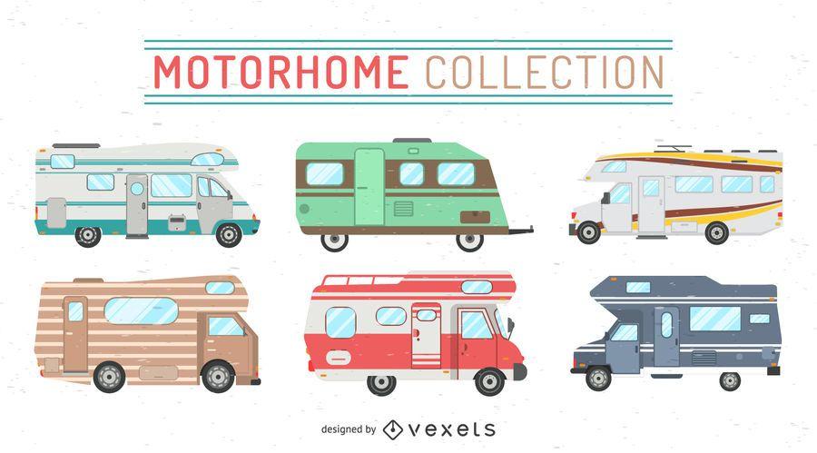 Conjunto de ilustraciones de autocaravanas.