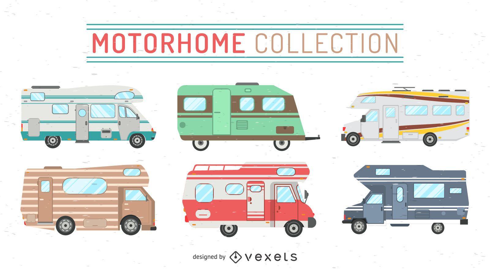 Set of motor home illustrations