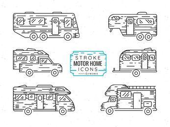 Conjunto de ícones de motor home
