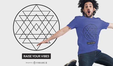 Diseño de camiseta de geometría sagrada de triángulo.