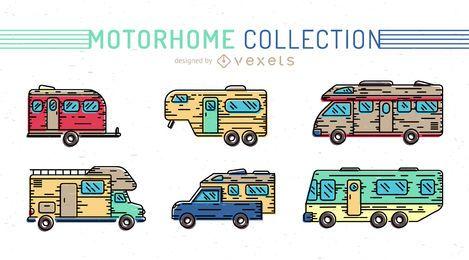 Colorido conjunto de iconos de autocaravana