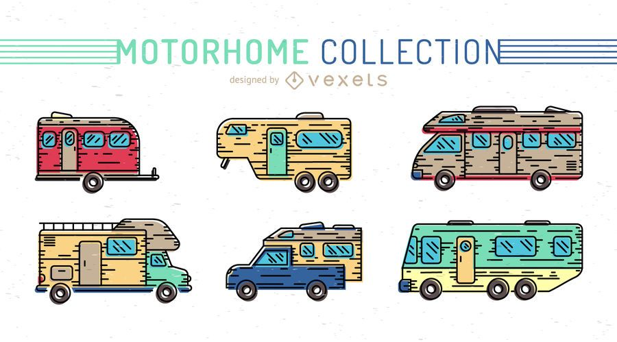 Colorful motorhome icon set