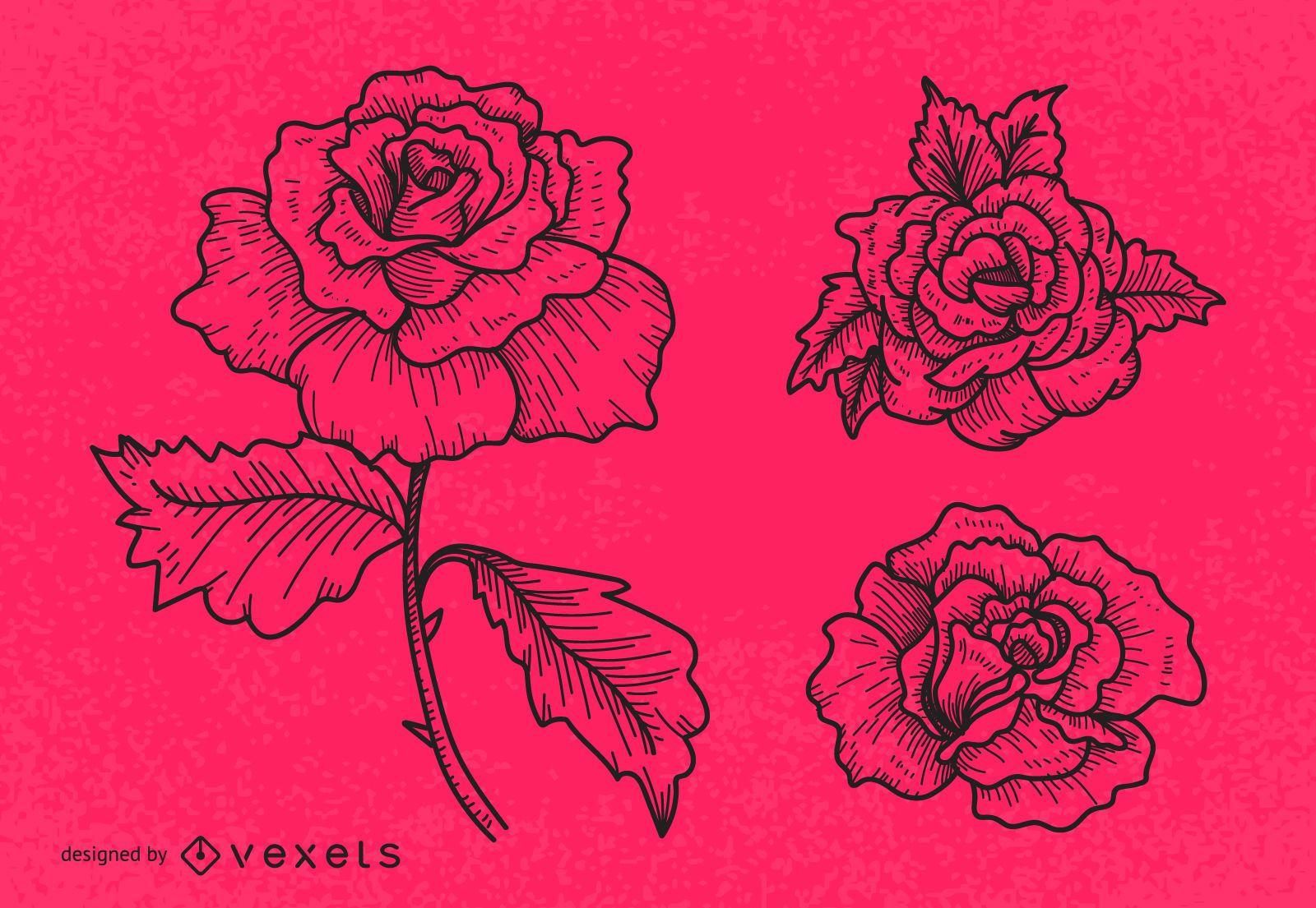 Line art rose illustration set