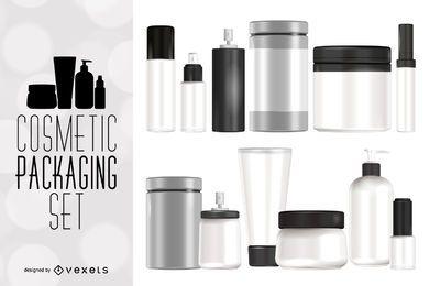 Conjunto de maquetes de embalagens cosméticas