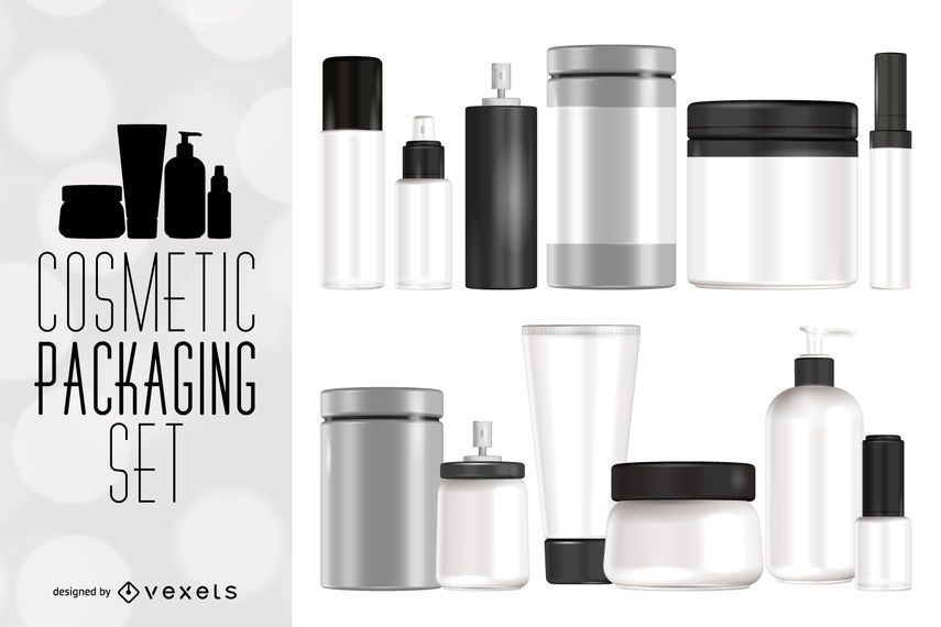 Cosmetic packaging mockup set
