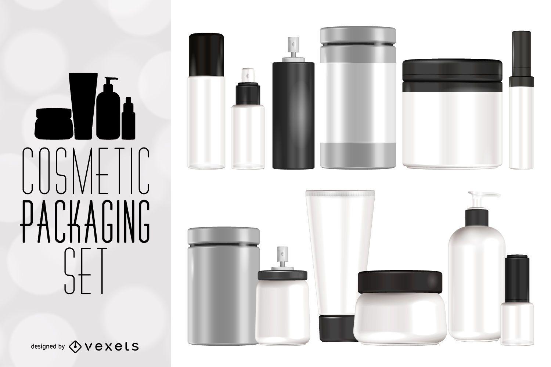 Cosmetic packaging mockup set
