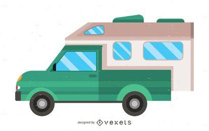 Ilustración de estilo antiguo de autocaravana plana