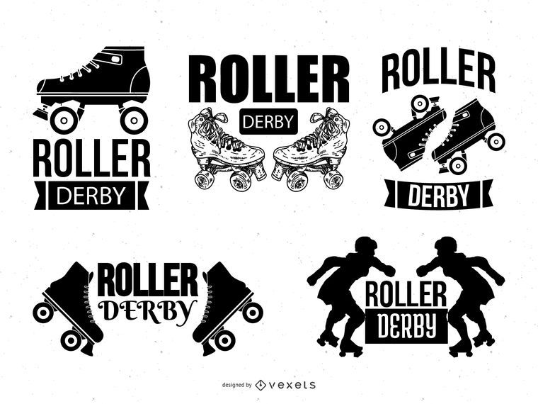 roller derby logo template set vector download rh vexels com Roller Derby Graphics Roller Derby Skates