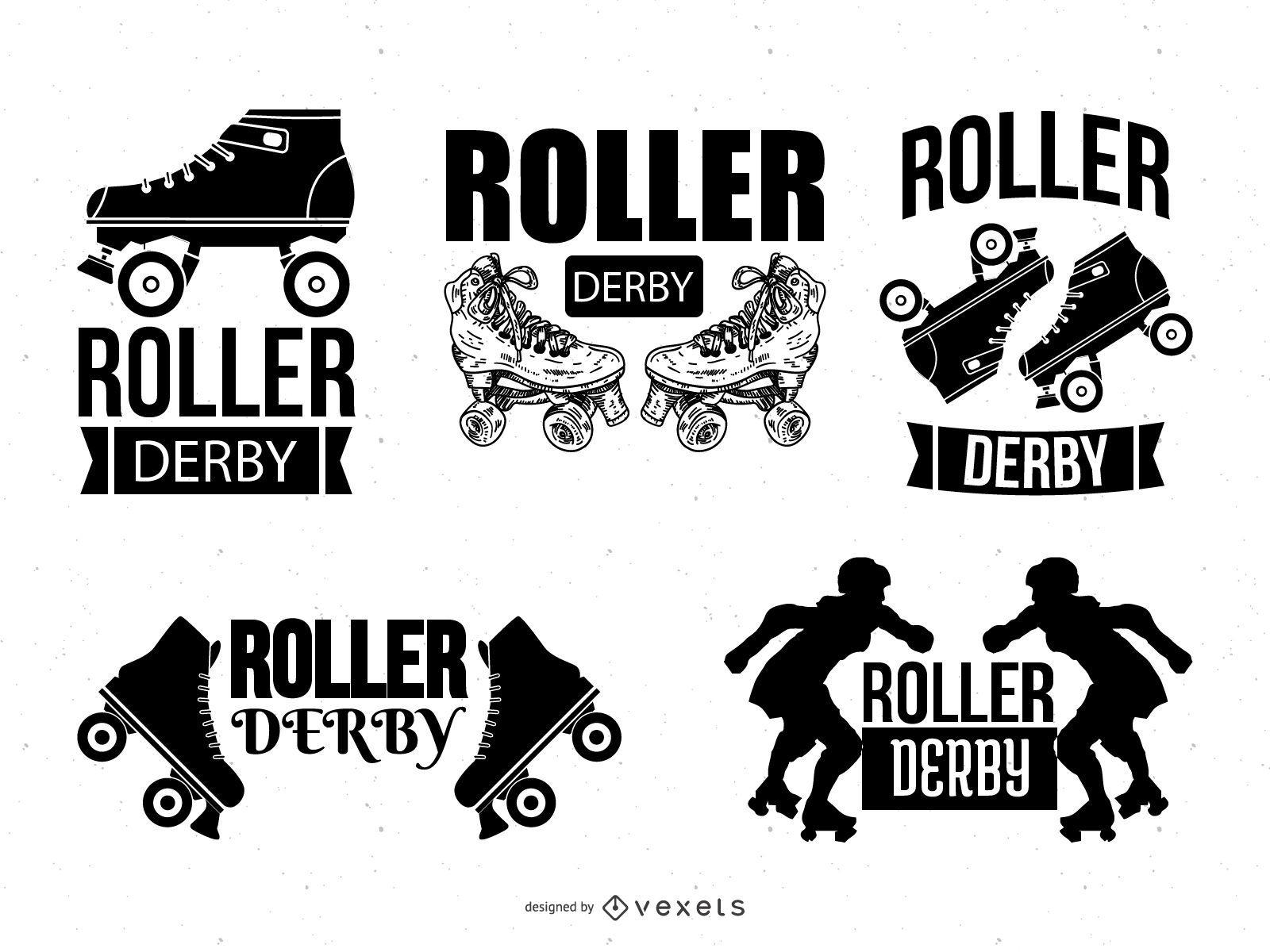 Conjunto de modelos de logotipo Roller Derby