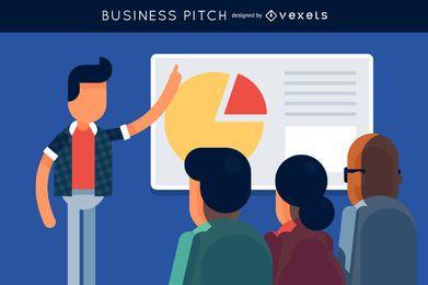 Ilustração de reunião de negócios passo a passo