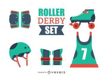 Conjunto de elementos ilustrados do Roller Derby