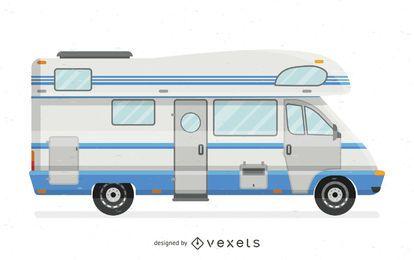 Ilustración de autocaravana plana blanca y azul.