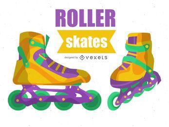 Ilustração colorida de patins de roda