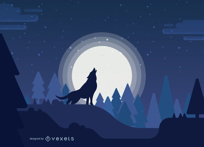 Wolf howling to a full moon illustration