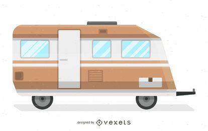 Ilustración retro autocaravanas