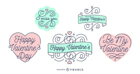 Conjunto de emblemas de letras do dia dos namorados