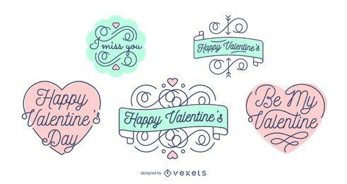 Insignias de letras del día de San Valentín conjunto
