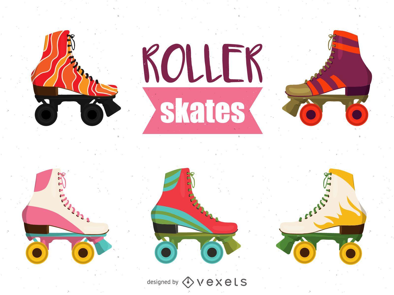 Ilustração de conjunto de patins