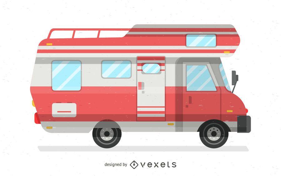 Ilustración de autocaravana roja