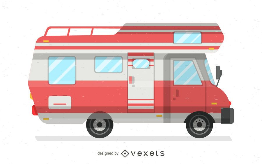 Red motorhome illustration
