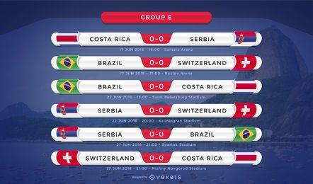 Rússia 2018 Grupo E fixture