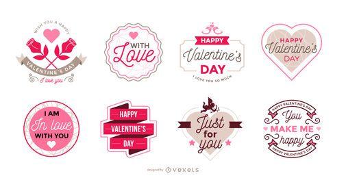Colección de etiquetas para el día de san valentín.