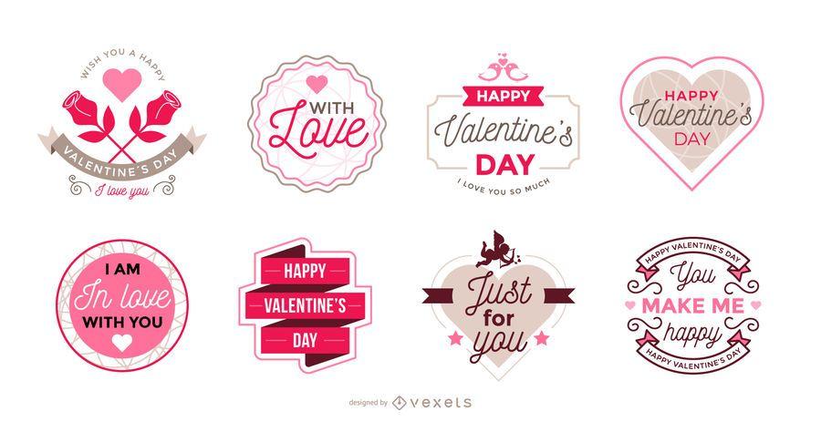 Sammlung von Valentinstag-Etiketten