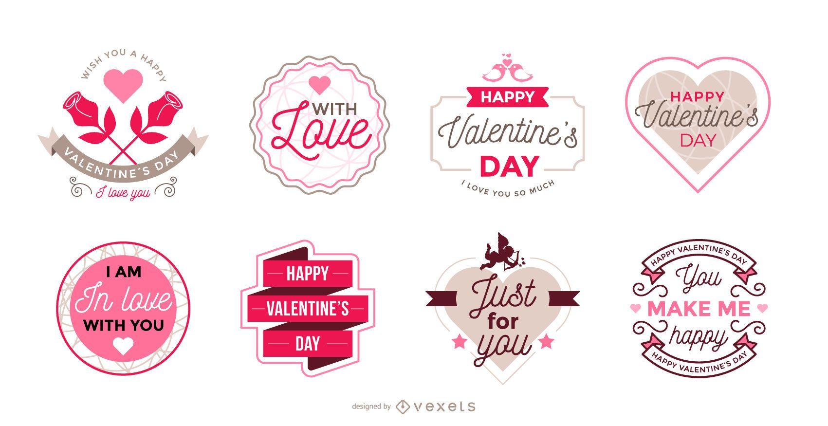 Coleção de rótulos do Dia dos Namorados