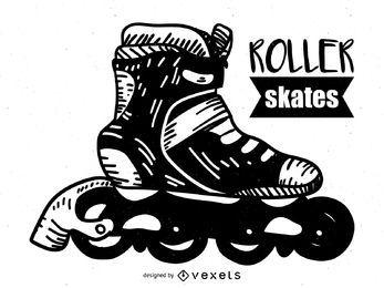 Rollos de patines dibujados a mano