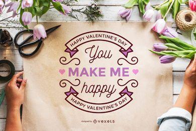 Maqueta del cartel día de san valentín.