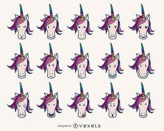Einhorn Emoji-Sammlung