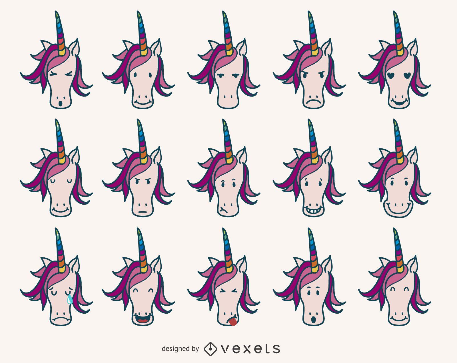 Coleção de emoji de unicórnio