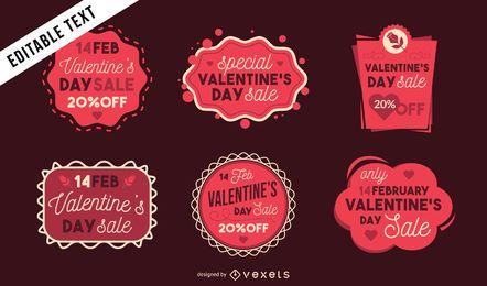 Conjunto de pegatinas de venta de San Valentín