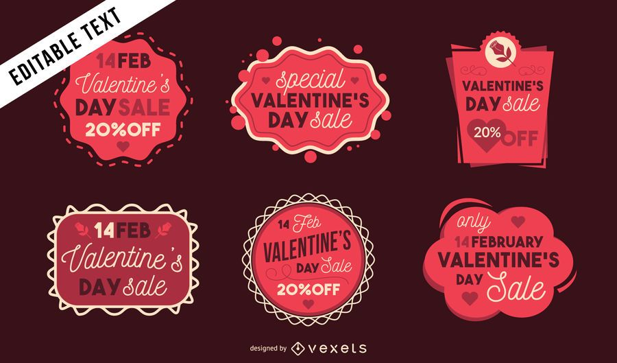 Set de pegatinas de venta de San Valentín